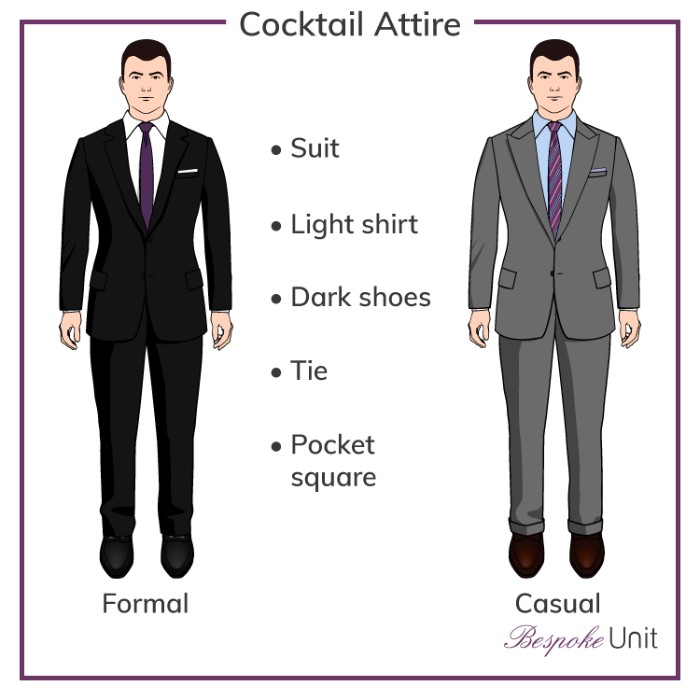 guide for guys, on choosing the right formal outfit, cocktail attire wedding, black suit with a white shirt, and a purple tie, grey suit with a pale blue shirt, and a striped purple tie