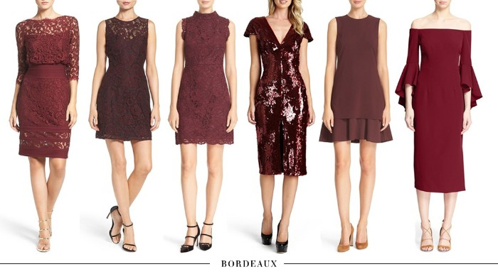 burgundy dresses with different lengths and designs, mni and midi, knee-length and just above the knee, with lace and sequins, bell sleeves and frilled hem, what is cocktail attire