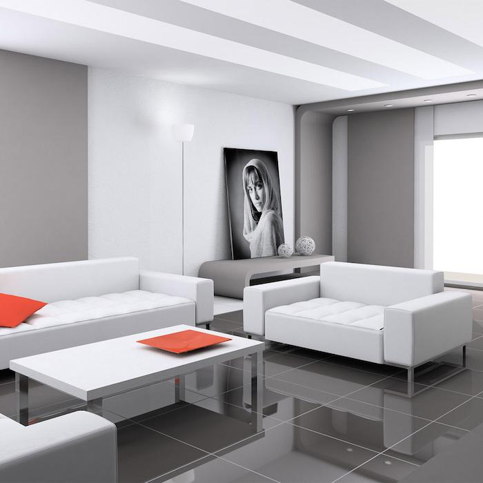 white and grey walls, white sofas with orange throw pillows, dark grey tiled floor, home decor ideas for living room
