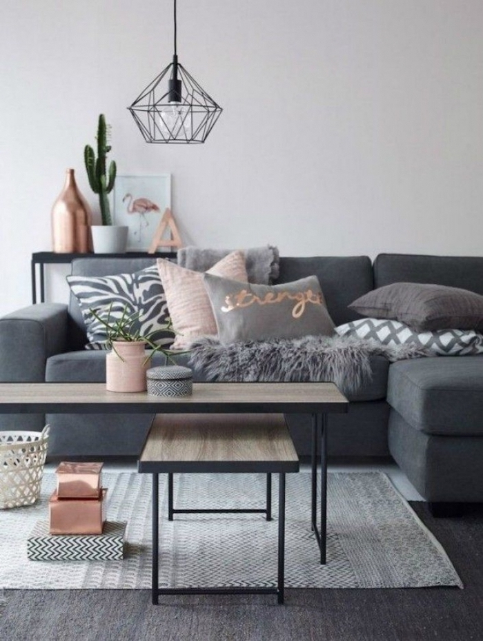 white wall, dark and light grey carpet, dark grey sofa with grey, pink and printed throw pillows, small wooden coffee tables, room ideas