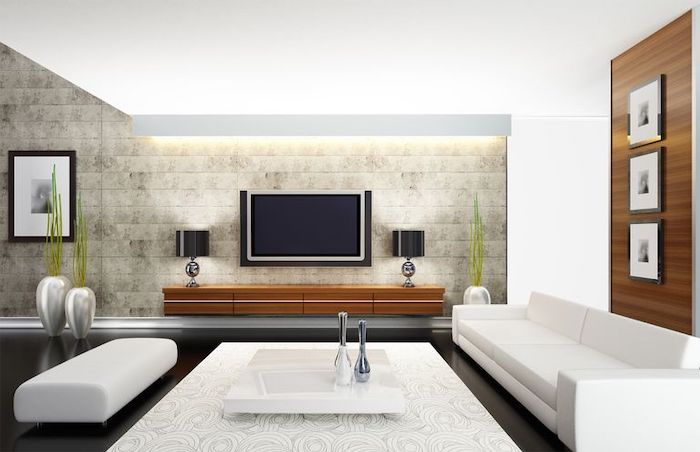 black floor, tiled wall, white sofas, minimalist paintings, white carpet, small white coffee table, home decor ideas for living room
