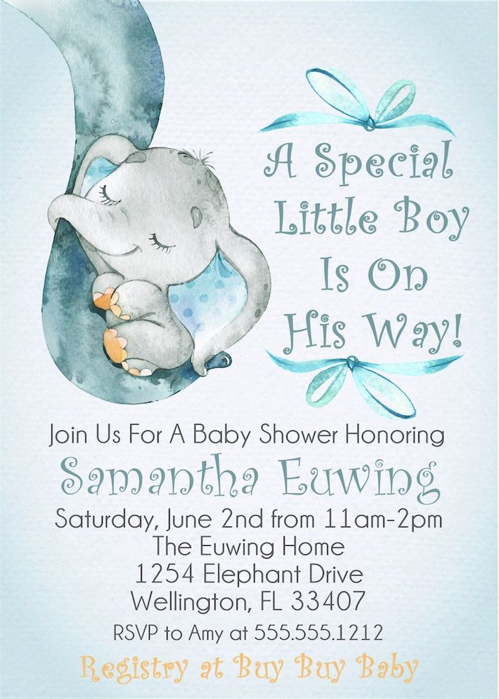 a special little boy is on his way, baby shower decoration ideas, invitation card, little grey elephant