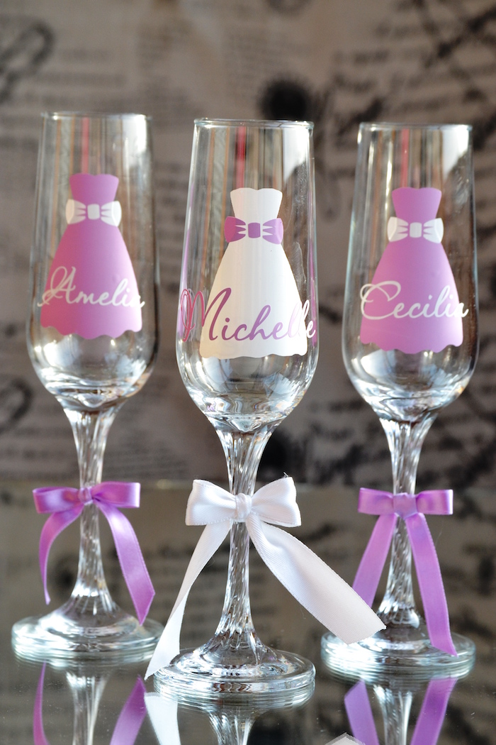 champagne flutes with bows, painted dresses and names, bachelorette games