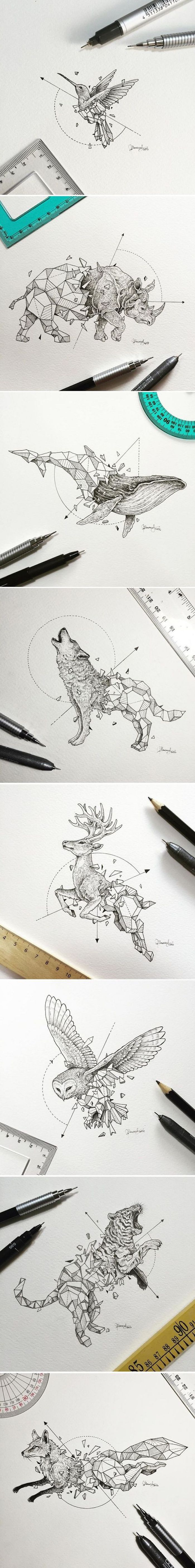 black and white animal drawings, white background, arm tattoos for men