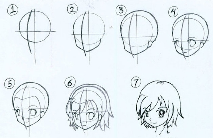 how to draw a girl face, step by step tutorial, white background, anime girl