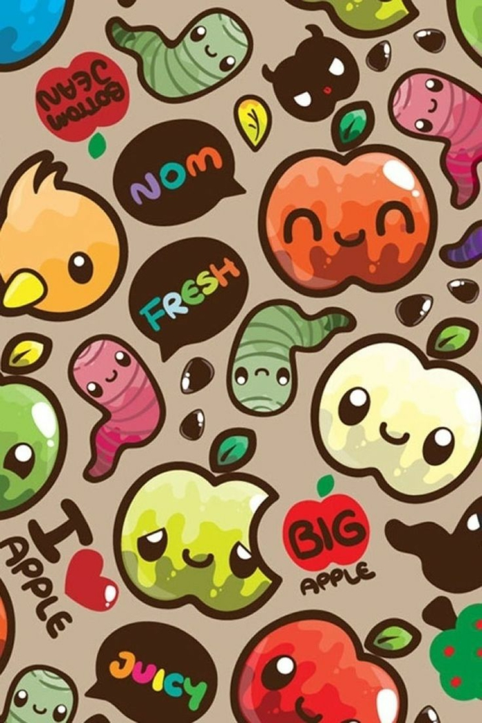 apples and worms, cool iphone wallpapers, colourful wallpaper