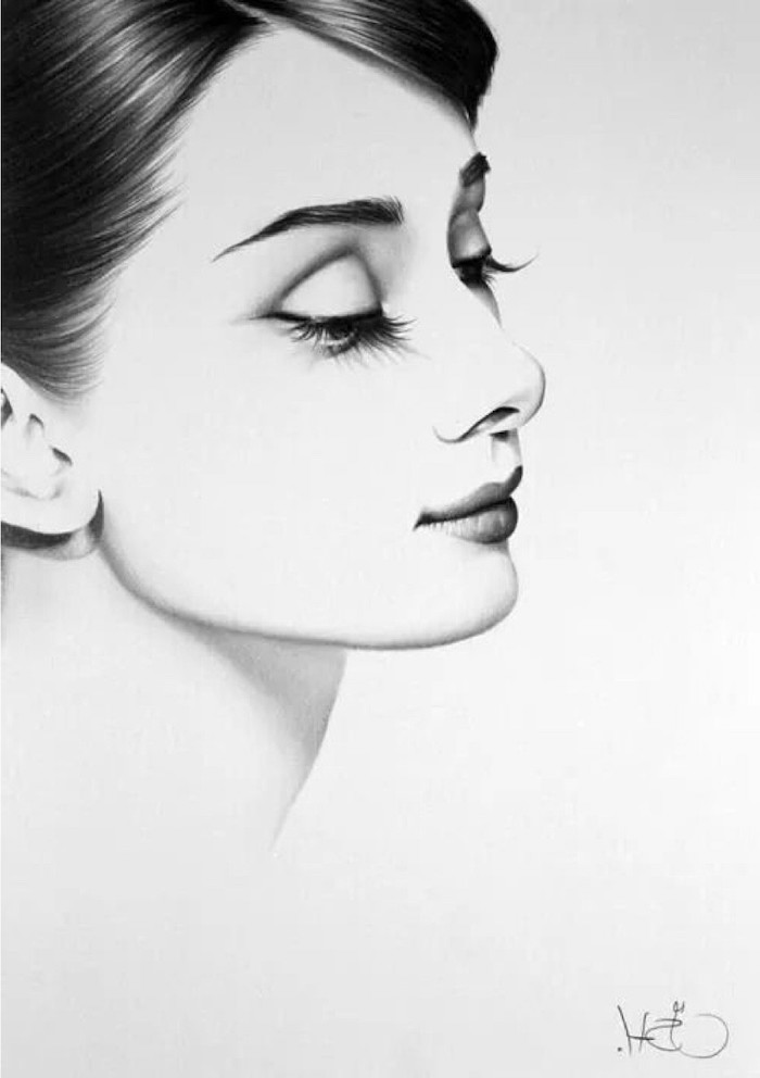 woman drawing, audrey hepburn drawing, black and white sketch, white background