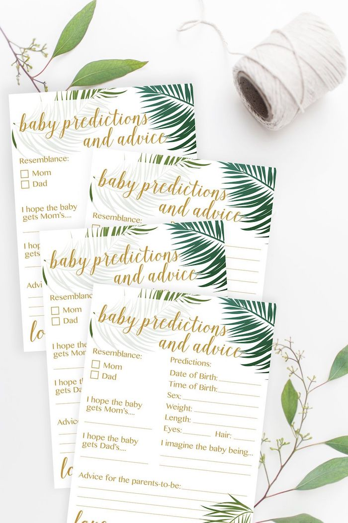 baby predictions and advice game, baby boy shower decorations, greenery and leaves