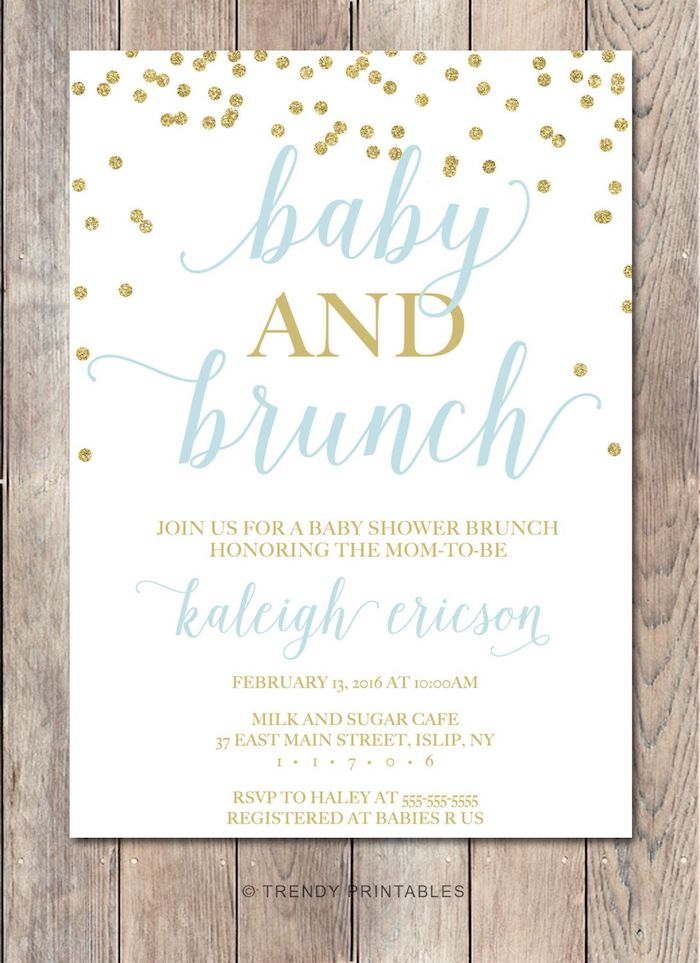 baby and brunch invitation, white blue and gold card, baby boy shower themes, wooden background