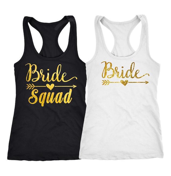 bride squad black top, white bride top, white background, bachelorette ideas