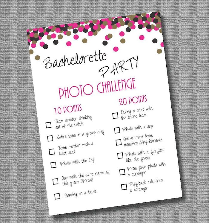 bachelorette party photo challenge, bachelorette party themes, grey background