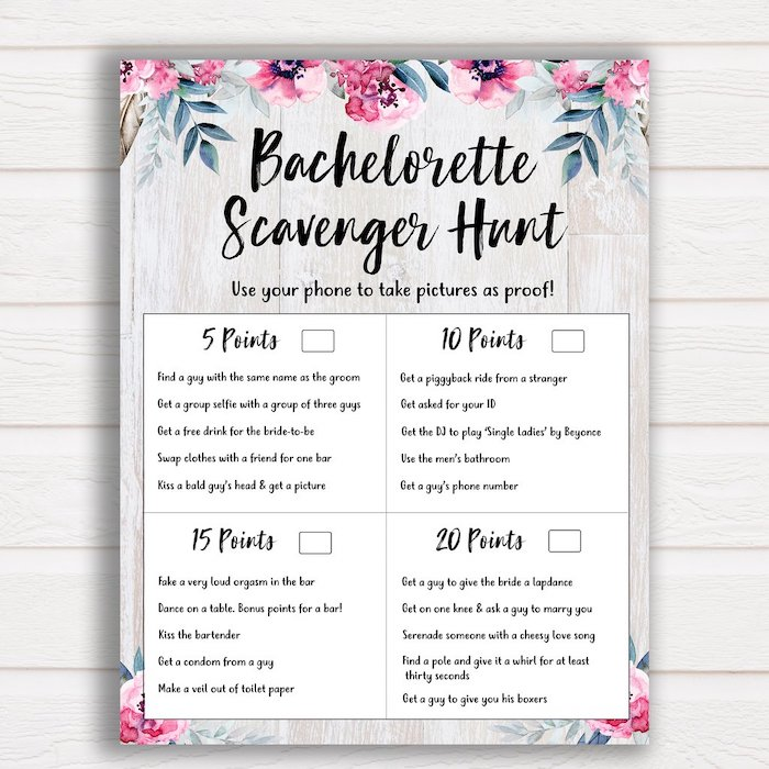 bachelorette scavenger hunt, floral print, white wooden background, bachelorette party themes