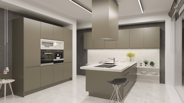 beige cabinets drawers and kitchen island, kitchen remodel ideas, white counter and shelves
