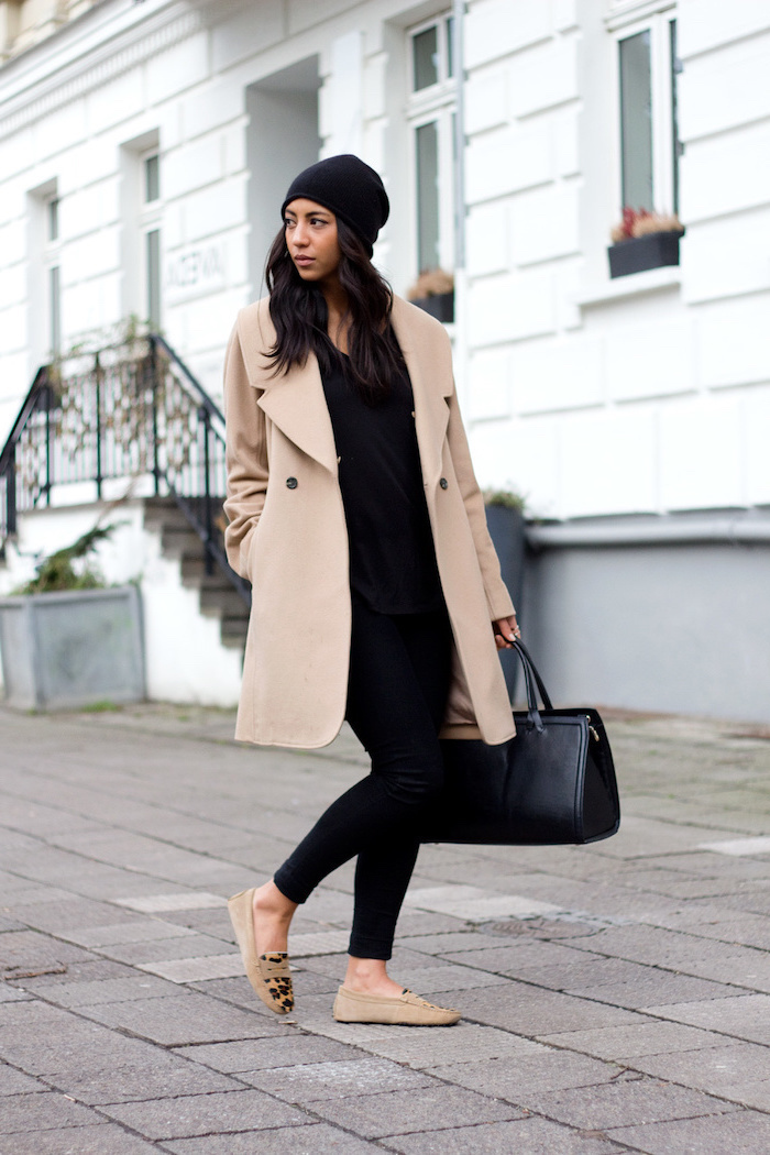 black trousers and top, leather bag, work clothes for women, long beige coat, beige leopard printed shoes