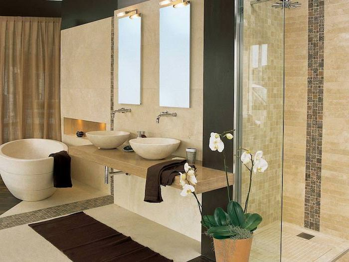 beige tiled walls and floor, two mirrors and sinks, modern bathroom design, floating shelf and sinks