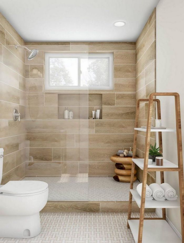 wood tiled walls, wooden towel rack, small bathroom design ideas, glass shower door