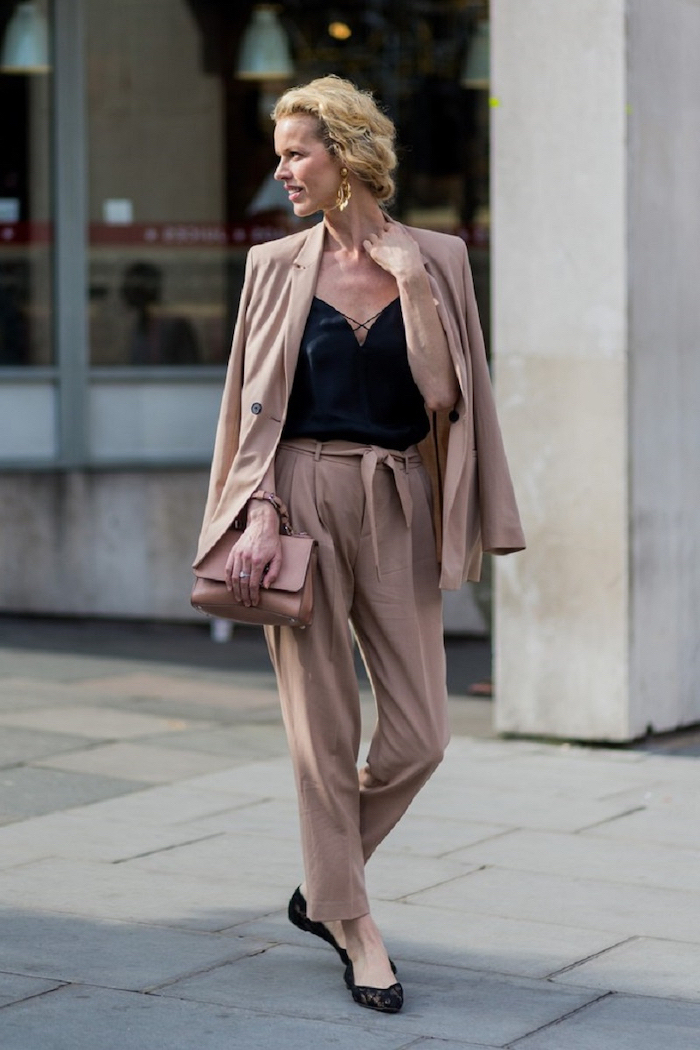 beige wide fit trousers and blazer, business attire for women, black flats, beige bag