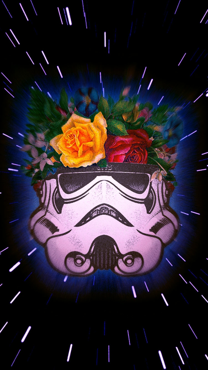 stormtrooper with flowers, pink and yellow roses, cute iphone wallpapers, black background
