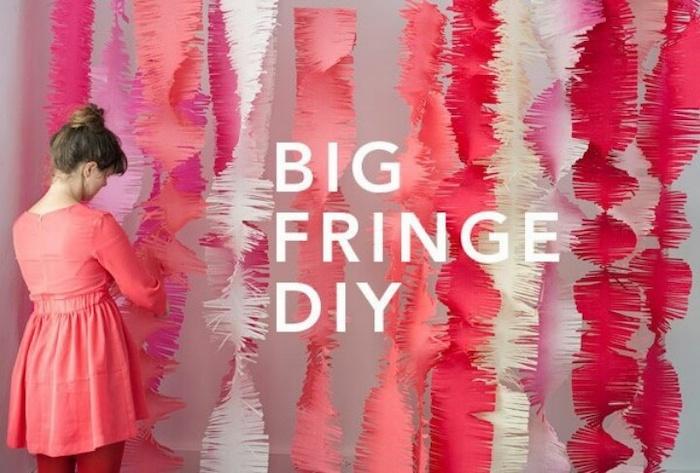 big fringe diy, shades of pink crepe paper, bachelorette party games