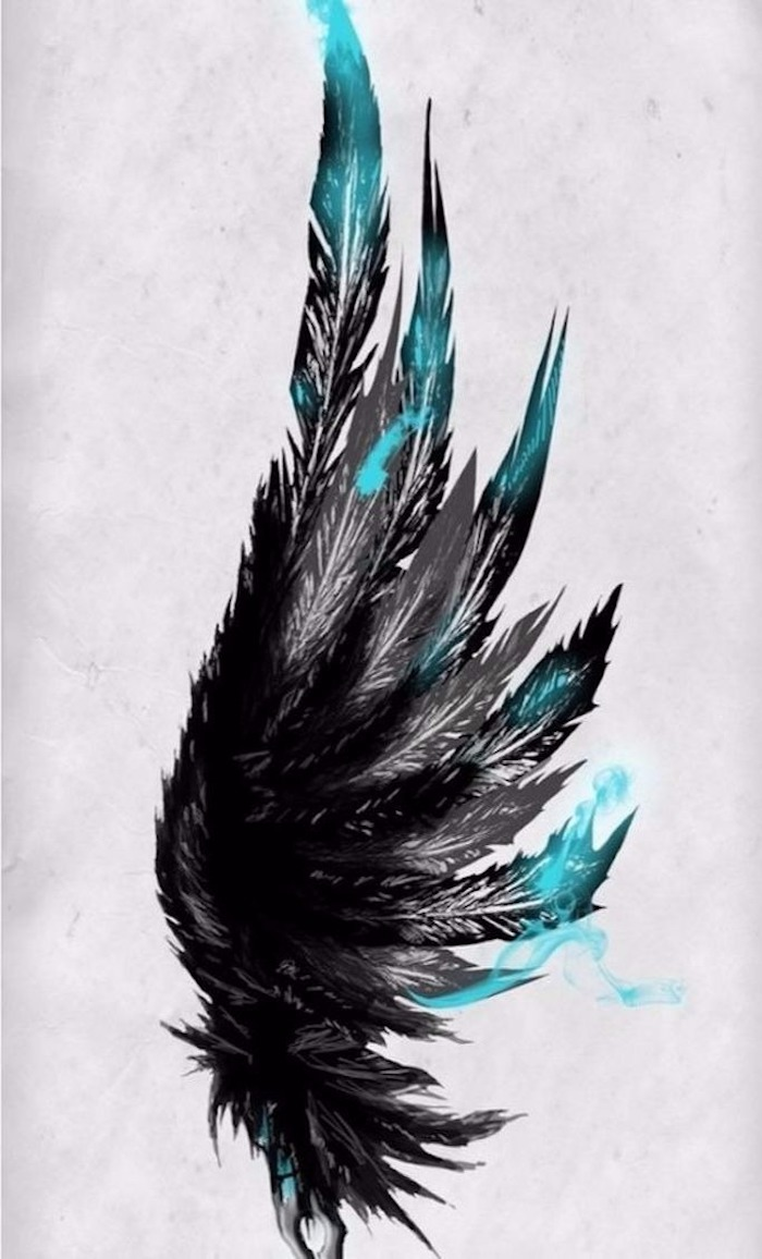 black and blue feathers drawing, meaningful tattoos, white background