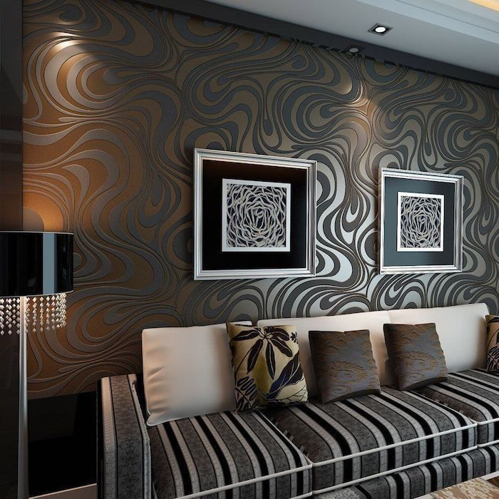 black and brown patterned wallpaper, black and grey sofa, wall designs, abstract paintings