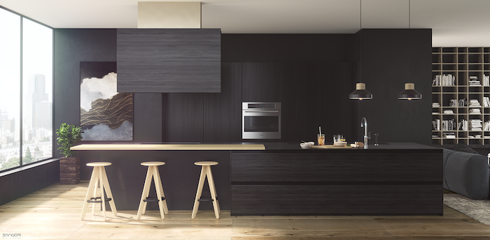black wooden wall cabinets and kitchen island, wooden bar stools, kitchen decor ideas