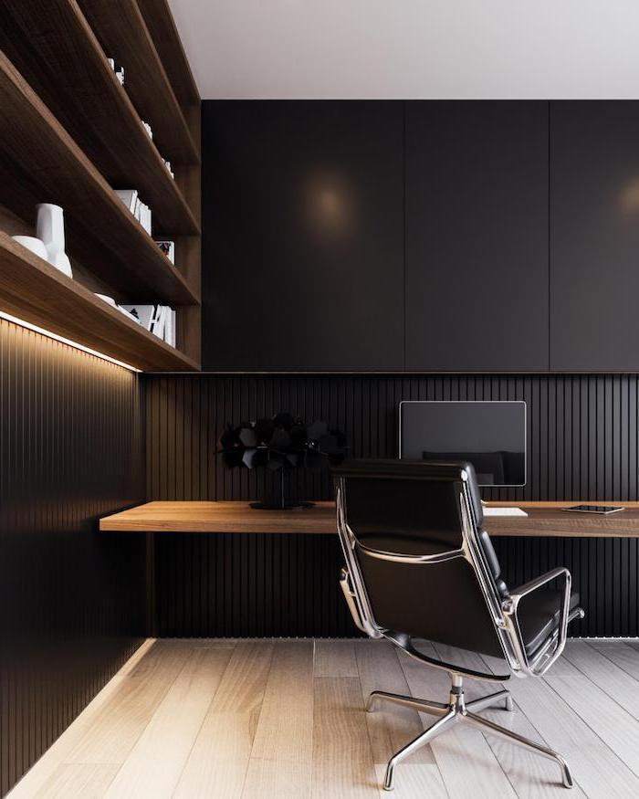 black cupboards, wooden desk and bookshelves, black leather chair, modern home office