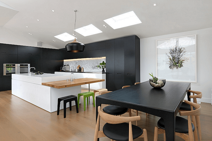 black cabinets drawers and dining table, white kitchen island, kitchen decor ideas, wooden counter