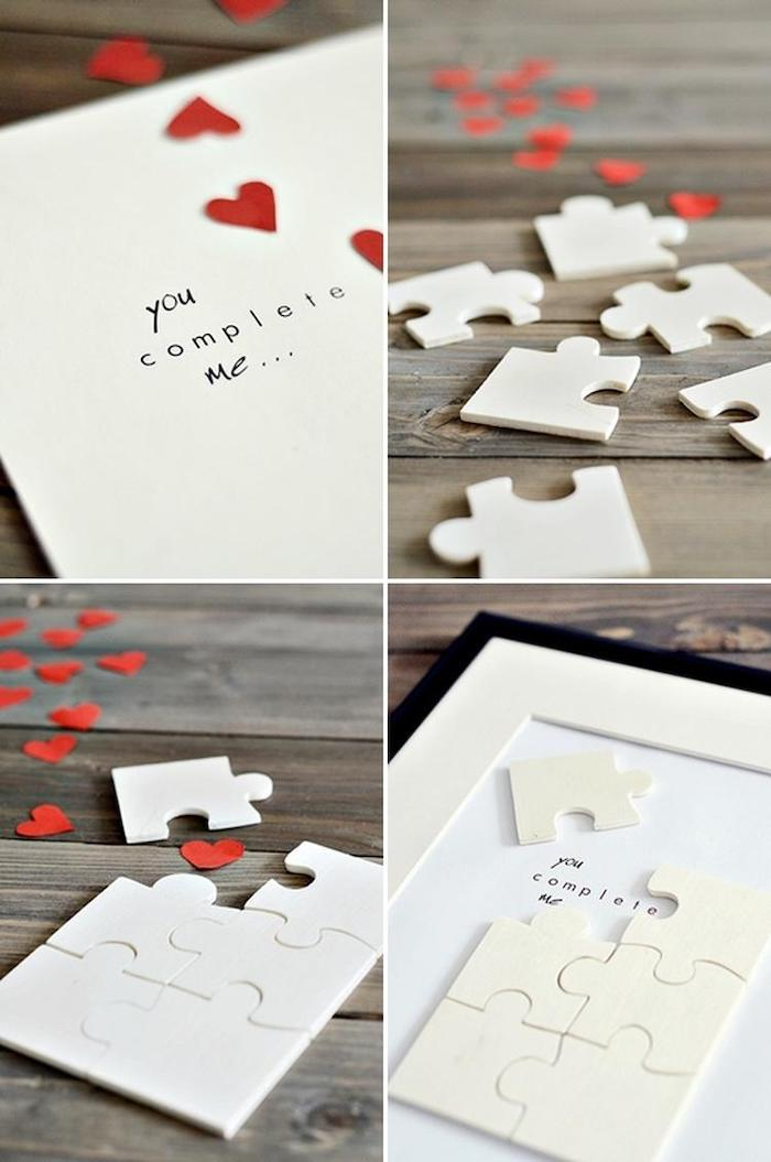 you complete me, jigsaw puzzle, special message, black frame with red hearts, personalised gifts for boyfriend
