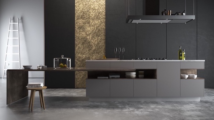 black wall with gold sequinned tiles, grey cabinets, small wooden stool, kitchen ideas