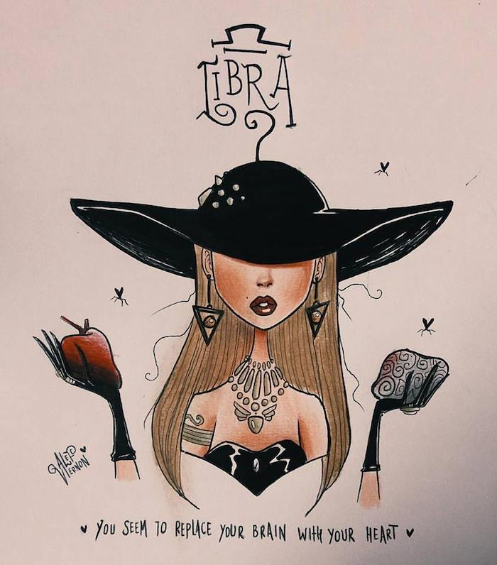 large black hat, libra zodiac sign drawing, girl drawing easy, black gloves and top