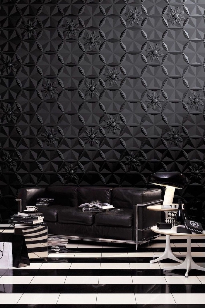 honeycomb floral wall 3d wallpaper, black leather sofa, black and white striped floor, accent wall living room