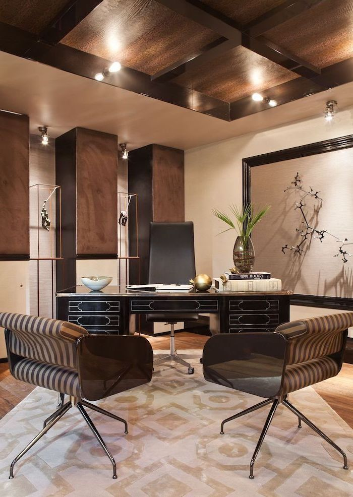 small office ideas, wooden ceiling, beige and white rug on the floor, black desk, black and brown leather chairs