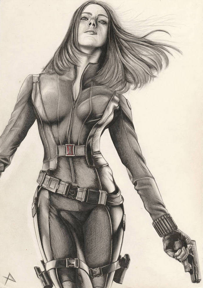 black widow drawing, black suit, gun in hand, woman drawing, long hair, white background