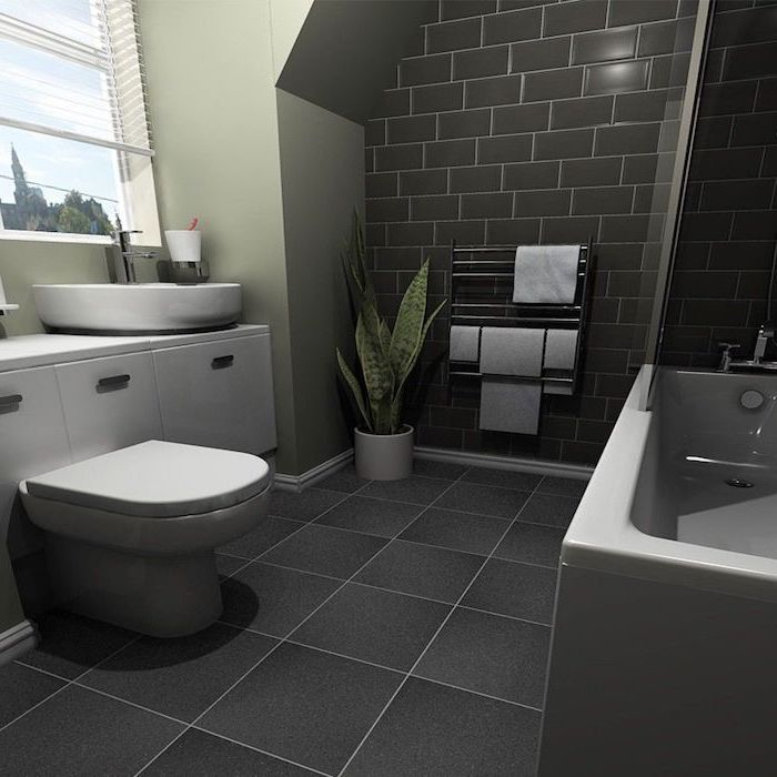 black tiled wall and floor, olive green wall, bathroom remodel ideas, white floating cabinets