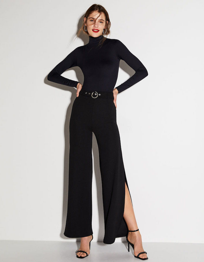 black trousers, open toe shoes, black turtleneck, women's professional clothing, black belt