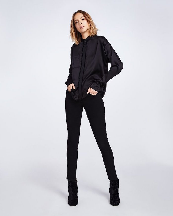 black satin shirt, women's professional clothing, black trousers, black velvet boots
