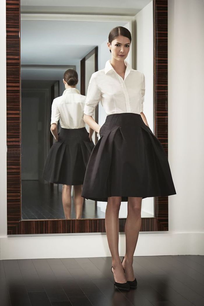 white shirt, black skirt, outfit casual, black pointed heels