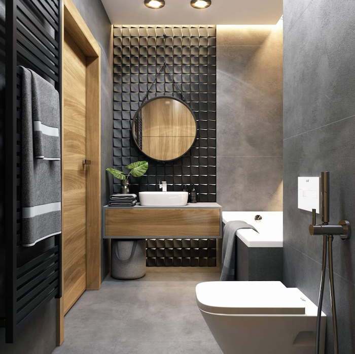black tiled accent wall, bathroom designs for small spaces, wooden floating cabinet, grey tiled walls