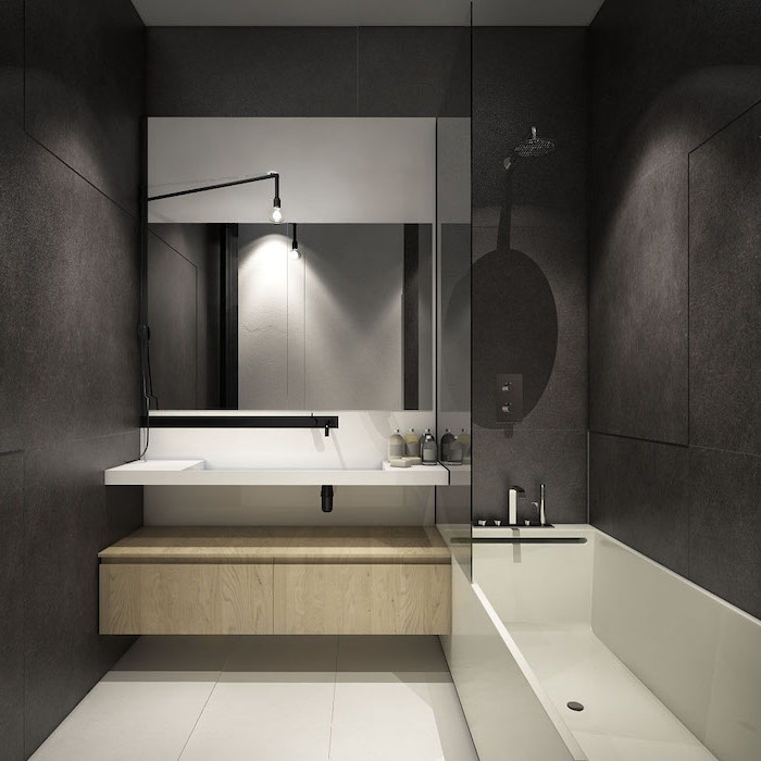 floating wooden shelf, bathroom shower ideas, black tiled walls, large mirror