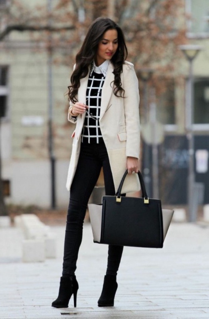 black trousers, black velvet boots, leather bag, long white coat, work clothes for women