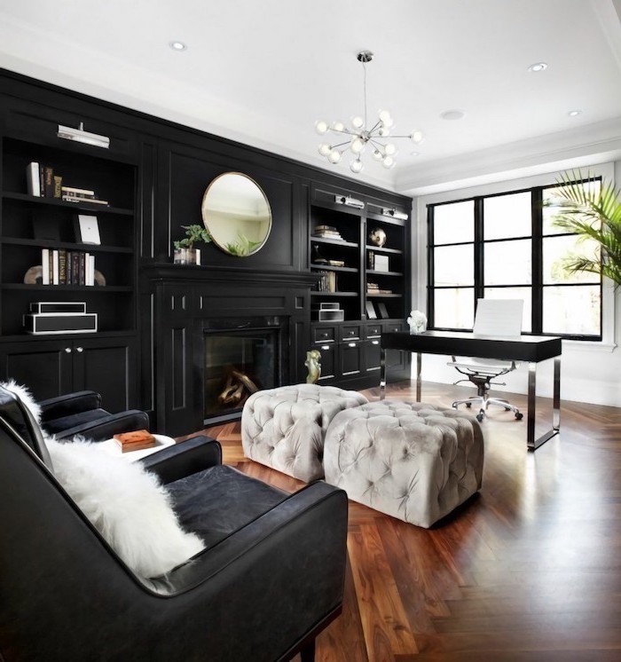 large wooden bookcase with cupboards and shelves, small office ideas, black velvet armchairs, grey velvet stools