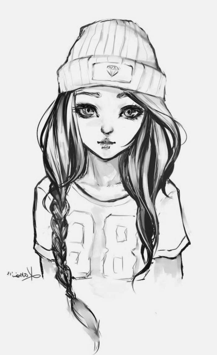 black and white sketch, how to draw a girl face, long black braided hair, beanie on head