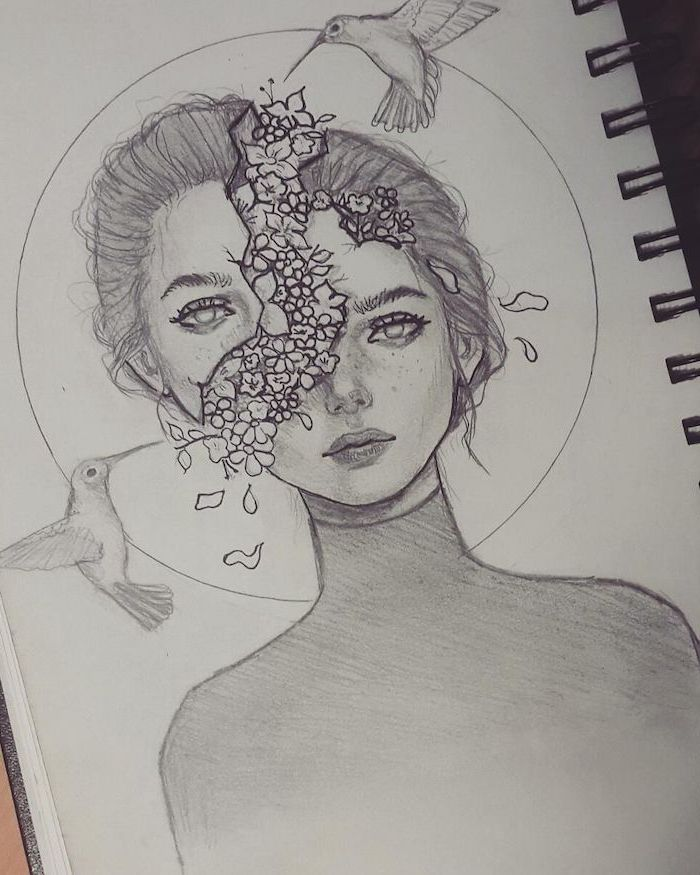 black and white sketch of a girl, head split, flower coming out of the head, face drawing