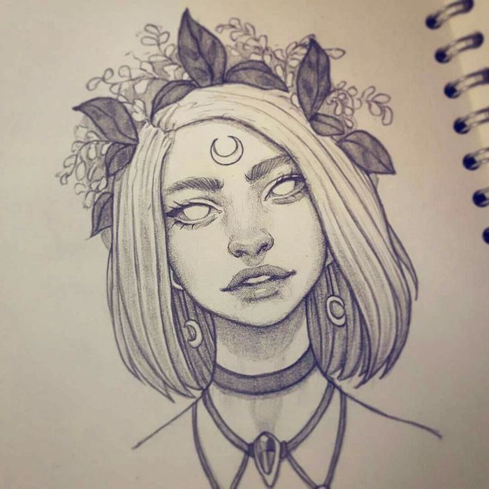 short blonde hair, black and white drawing, flower crown, how to draw female body, black necklaces