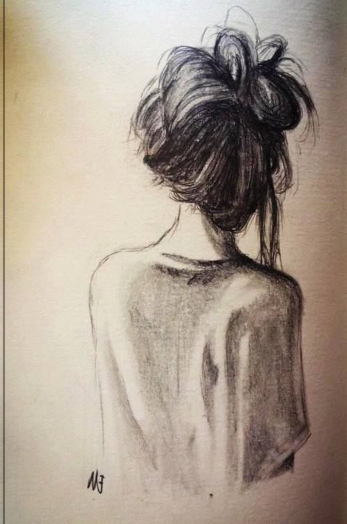 long hair in a bun, how to draw female body, black and white sketch, white background