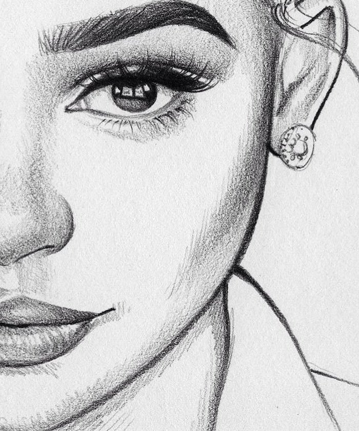 close up of a female face drawing, how to draw a face, full lips and big eyes