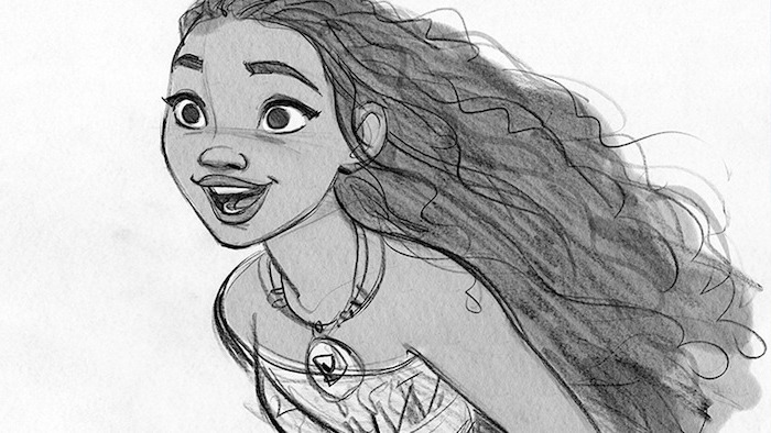long black wavy hair, black and white drawing of moana, woman drawing, white background