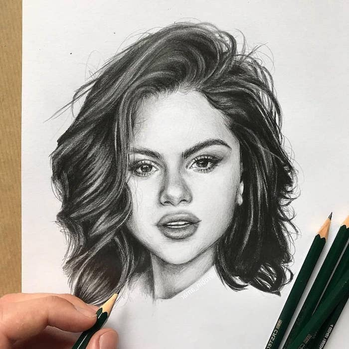 black and white selena gomez drawing, woman drawing, white background, short wavy hair