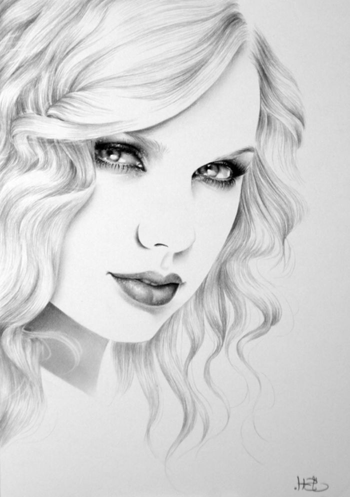 black and white sketch, taylor swift drawing, woman drawing, short curly hair, white background